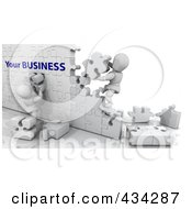 Poster, Art Print Of Two 3d White Characters Building A Puzzle Wall With Your Businses Text