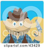 Clipart Illustration Of A Mexican Cowboy Kid Holding A Pistil by Dennis Holmes Designs