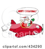 Royalty Free RF Clipart Illustration Of Santa Saying Merry Christmas And Flying A Plane