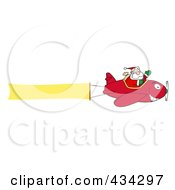 Royalty Free RF Clipart Illustration Of A Santa Flying A Plane Banner 2