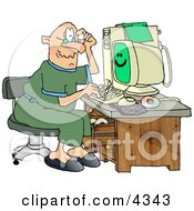 Puzzled Grandpa Using A Computer Clipart