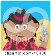 Clipart Illustration Of A Hispanic Cowgirl Holding Up A Pistil