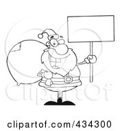 Royalty Free RF Clipart Illustration Of A Santa Holding A Blank Sign 1