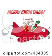 Royalty Free RF Clipart Illustration Of Santa Shouting Merry Christmas And Flying A Plane