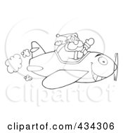 Royalty Free RF Clipart Illustration Of Santa Flying A Plane 1
