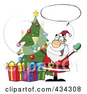Royalty Free RF Clipart Illustration Of Santa With A Word Balloon 4 by Hit Toon