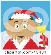 Clipart Illustration Of A Latin American Bell Ringer Boy Calling For Christmas Donations by Dennis Holmes Designs