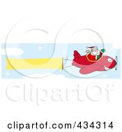 Royalty Free RF Clipart Illustration Of A Santa Flying A Plane Banner 6