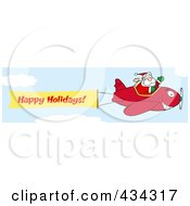 Royalty Free RF Clipart Illustration Of A Santa Flying A Plane Banner 5