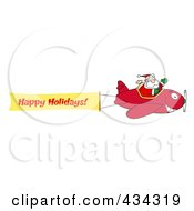 Royalty Free RF Clipart Illustration Of A Santa Flying A Plane Banner 4