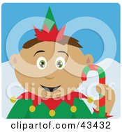Clipart Illustration Of A Latin American Boy Dressed As A Christmas Elf by Dennis Holmes Designs