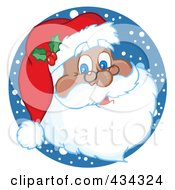 Royalty Free RF Clipart Illustration Of A Black Santa Face With Snow