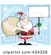 Royalty Free RF Clipart Illustration Of A Santa Holding A Blank Sign In The Snow