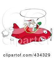 Royalty Free RF Clipart Illustration Of Santa Flying A Plane 3