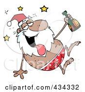 Royalty Free RF Clipart Illustration Of A Drunk Black Santa 1