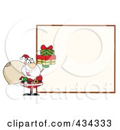 Santa With A Blank Sign 1 by Hit Toon