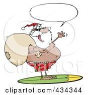 Royalty Free RF Clipart Illustration Of A Black Santa Surfing 2