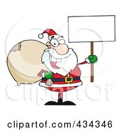 Santa Holding A Blank Sign 2 by Hit Toon