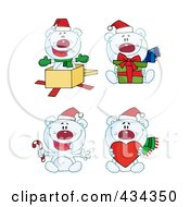 Royalty Free RF Clipart Illustration Of A Digital Collage Of Christmas Polar Bears by Hit Toon