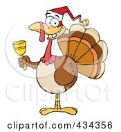 Royalty Free RF Clipart Illustration Of A Christmas Turkey Ringing A Bell 2 by Hit Toon