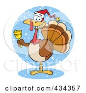 Royalty Free RF Clipart Illustration Of A Christmas Turkey Ringing A Bell Over Snow