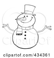 Royalty Free RF Clipart Illustration Of A Happy Snowman 1 by Hit Toon