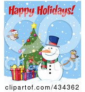 Royalty Free RF Clipart Illustration Of Happy Holidays Text By A Christmas Snowman By A Tree
