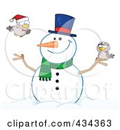Royalty Free RF Clipart Illustration Of A Happy Snowman With Birds 2 by Hit Toon