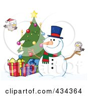 Royalty Free RF Clipart Illustration Of A Christmas Snowman By A Tree 2 by Hit Toon