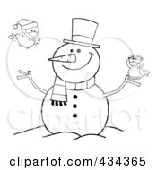 Royalty Free RF Clipart Illustration Of A Happy Snowman With Birds 1 by Hit Toon