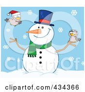 Royalty Free RF Clipart Illustration Of A Happy Snowman With Birds 3 by Hit Toon