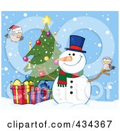Royalty Free RF Clipart Illustration Of A Christmas Snowman By A Tree 3 by Hit Toon