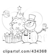 Royalty Free RF Clipart Illustration Of A Christmas Snowman By A Tree 1 by Hit Toon