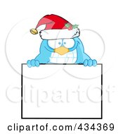 Royalty Free RF Clipart Illustration Of A Blue Christmas Bird Over A Blank Sign