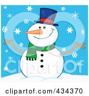 Royalty Free RF Clipart Illustration Of A Happy Snowman 3 by Hit Toon