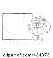 Royalty Free RF Clipart Illustration Of A Christmas Turkey With A Blank Sign 2