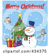 Royalty Free RF Clipart Illustration Of Merry Christmas Text By A Christmas Snowman By A Tree by Hit Toon