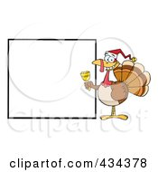 Royalty Free RF Clipart Illustration Of A Christmas Turkey With A Blank Sign 1