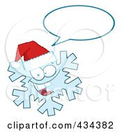 Royalty Free RF Clipart Illustration Of A Snowflake Character Wearing A Santa Hat 2 by Hit Toon