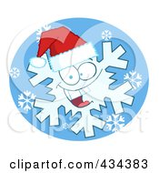 Royalty Free RF Clipart Illustration Of A Snowflake Character Wearing A Santa Hat 3 by Hit Toon