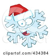 Royalty Free RF Clipart Illustration Of A Snowflake Character Wearing A Santa Hat 1 by Hit Toon