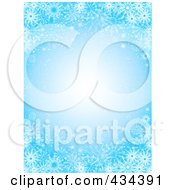 Royalty Free RF Clipart Illustration Of A Blue Snowflake Background With A Glowing Center