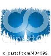 Royalty Free RF Clipart Illustration Of A Blue Christmas Tree Background In The Woods With A White Grunge Border