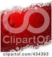 Royalty Free RF Clipart Illustration Of A Red Christmas Bauble Background With Snow And White Grunge
