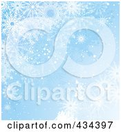 Royalty Free RF Clipart Illustration Of A Blue Snowflake Background With Multiple Sized Flakes