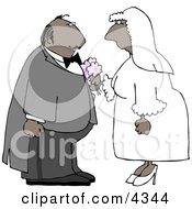 Ethnic Male And Female Couple Getting Married Clipart