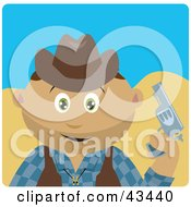 Clipart Illustration Of A Latin American Cowboy Kid Holding A Pistil