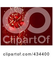 Royalty Free RF Clipart Illustration Of A Red Christmas Bauble Background With Stars Sparkles And Ribbons