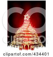 Royalty Free RF Clipart Illustration Of A Gold Spiral Christmas Tree With Red Gifts And White Grunge Over Red