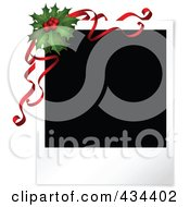 Royalty Free RF Clipart Illustration Of A Blank Polaroid Picture With Christmas Holly And Red Ribbons
